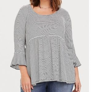 Torrid Bell Sleeve Striped Baby Doll Top